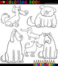 Cartoon Dogs or Puppies for Coloring Book Royalty Free Stock Photos