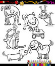 Cartoon dogs set for coloring book or page illustration of black and white characters children Royalty Free Stock Images