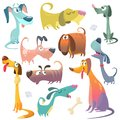 Cartoon dogs set. Vector illustrations of dogs icons.