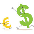 Cartoon dollar sign chasing euro sign vector illustration of a big and scaring a small Stock Photo