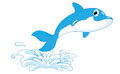 Cartoon dolphin jumping out of water Royalty Free Stock Photo