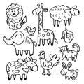 Cartoon doodle animals.