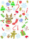 Cartoon doodle Christmas seamless background Stock Photo