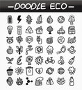 Cartoon doodle eco icon set Royalty Free Stock Images