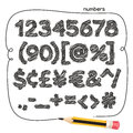 Cartoon Doodle Numbers Royalty Free Stock Photo