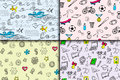 Cartoon doodles hand drawn style seamless pattern summer design wallpaper vector illustration.