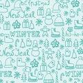 Cartoon doodles hand drawn style seamless pattern winter design wallpaper vector illustration.