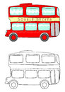 Cartoon double decker coloring page with the on a white background vector Stock Images