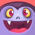 Cartoon Dracula Face. Cute square avatar or icon. Halloween illustration