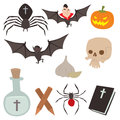 Cartoon dracula vector coffin symbols vampire icons character funny man comic halloween and magic spell witchcraft ghost