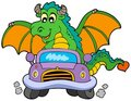 Cartoon dragon driving car Royalty Free Stock Photos