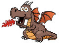 Cartoon dragon fire vector illustration of Stock Photo