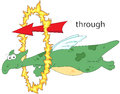 Cartoon dragon flies through the ring of fire. English grammar i