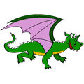 Cartoon dragon illustration showing a happy green Royalty Free Stock Image