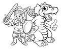 Cartoon Dragon and Knight