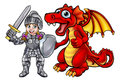 Cartoon Dragon and Knight Royalty Free Stock Photo