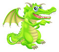 Cartoon dragon mascot pointing an illustration of a cute standing and Royalty Free Stock Image