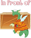 Cartoon dragon reads a book in front of the box english grammar pictures for students pupils and preschoolers Stock Images