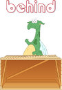 Cartoon dragon stands behind the box english grammar in picture pictures for students pupils and preschoolers Royalty Free Stock Image