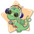Cartoon Dragon with sun glasses, headphones and microphone
