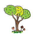 Cartoon drawing tree with color Stock Photo