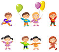 Cartoon drawings of children vector illustration girls and boys concept white background Royalty Free Stock Images