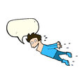 Cartoon drenched man flying with speech bubble Royalty Free Stock Photo