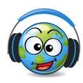 Cartoon Earth with headphones Royalty Free Stock Photo