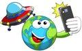 Cartoon Earth selfie alien ufo spaceship Royalty Free Stock Photo