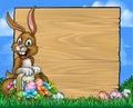 Cartoon Easter Bunny Eggs Background Sign