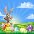 Cartoon Easter Bunny Scene Royalty Free Stock Photo