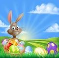 Cartoon Easter Bunny Scene Royalty Free Stock Photo