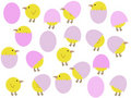 Cartoon easter chicks and eggs Stock Photo