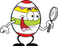 Cartoon easter egg with a magnifying glass illustration of holding Stock Images