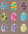 Cartoon Easter egg stickers Stock Images