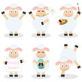 Cartoon easter funny lamb set collection of six characters in different positions and expressions isolated on white background eps Stock Photo