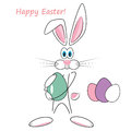Cartoon easter rabbit cute white holding an egg Royalty Free Stock Photo