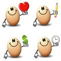 Cartoon Eggs Holding Objects Royalty Free Stock Images