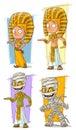Cartoon egyptian young pharaoh and mummy character vector set