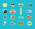 Cartoon Eighties Style Symbol Color Icons Set. Vector