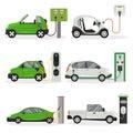 Cartoon Electric Car Different Design Icon Set. Vector