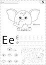 Cartoon elephant, eye and Earth. Alphabet tracing worksheet: writing A-Z and educational game for kids Royalty Free Stock Photo