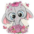 Cartoon Elephant with flowerson a white background