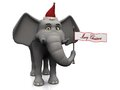 Cartoon elephant holding merry christmas flag. Royalty Free Stock Images