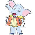 Cartoon elephant playing accordion Royalty Free Stock Photos
