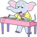Cartoon elephant playing an electronic organ Royalty Free Stock Image