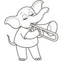 Cartoon elephant playing a trombone black and white Royalty Free Stock Photo