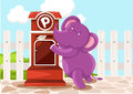 Cartoon elephant sendin letter Royalty Free Stock Photos