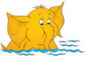 Cartoon elephant in water Royalty Free Stock Photography