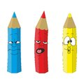 Cartoon emotional pencil set color Stock Image